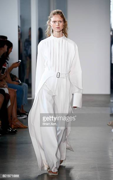 A model walks the runway during the Dion Lee fashion show during New York Fashion Week September 2016 at Pier 59 Studios on September 10 2016 in New...