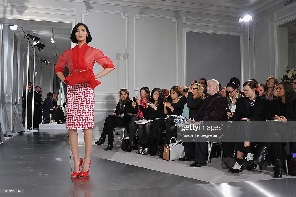 A model walks the runway during the Dior HauteCouture 2012 show as part of Paris Fashion Week at Salons Christian Dior on January 23 2012 in Paris...