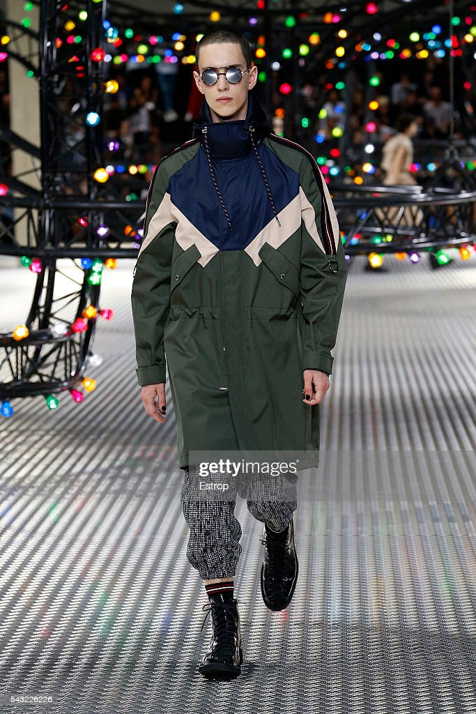 A model walks the runway during the Dior Homme Menswear Spring/Summer 2017 show designed by Kris Van Assche as part of Paris Fashion Week on June 25, 2016 in Paris, France.