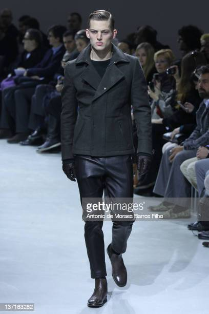 A model walks the runway during the Dirk Bikkembergs fashion show as part of Milan Fashion Week Menswear Autumn/Winter 2012 at on January 16 2012 in...