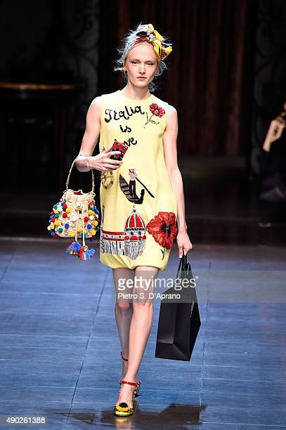 A model walks the runway during the Dolce Gabbana fashion show as part of Milan Fashion Week Spring/Summer 2016 on September 27 2015 in Milan Italy