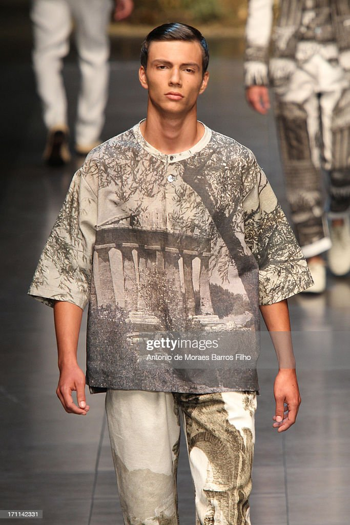 A model walks the runway during the Dolce & Gabbana show as a part of MFW S/S 2014 on June 22, 2013 in Milan, Italy.