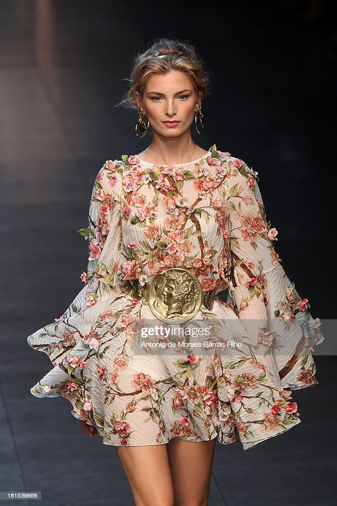 A model walks the runway during the Dolce & Gabbana show as a part of Milan Fashion Week Womenswear Spring/Summer 2014 on September 22, 2013 in Milan, Italy.