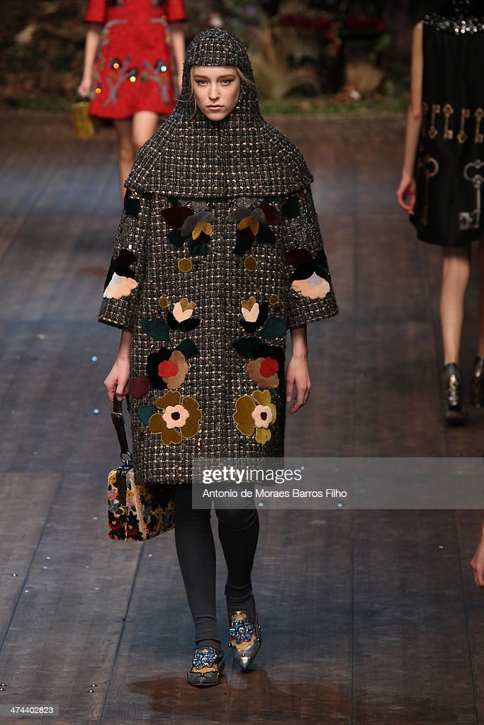 A model walks the runway during the Dolce & Gabbana show as a part of Milan Fashion Week Womenswear Autumn/Winter 2014 on February 23, 2014 in Milan, Italy.
