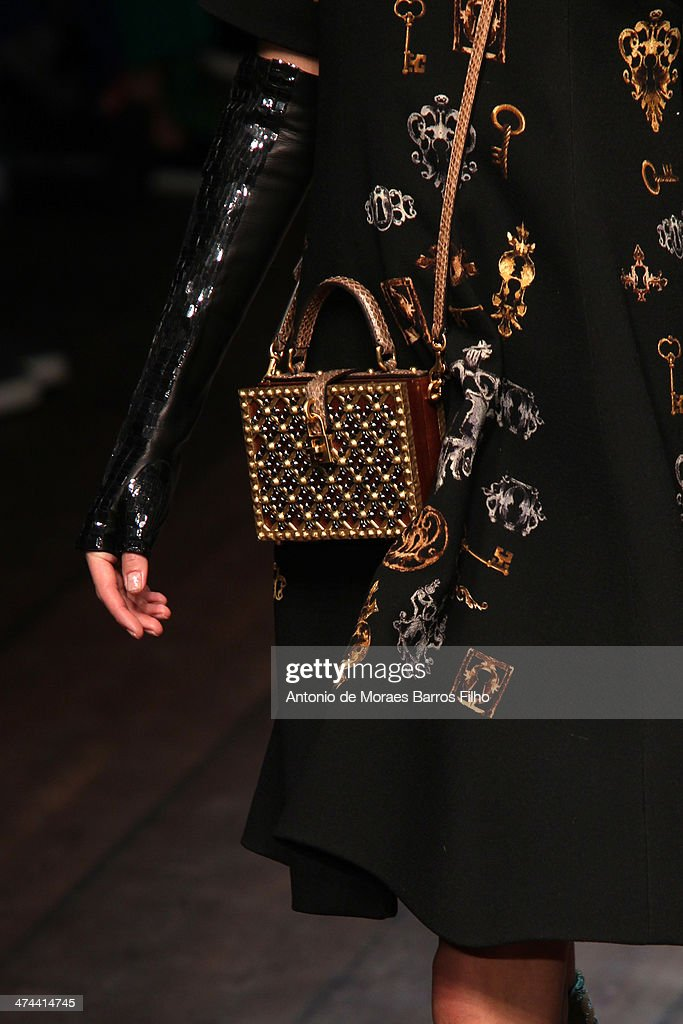 A model walks the runway (detail) during the Dolce & Gabbana show as a part of Milan Fashion Week Womenswear Autumn/Winter 2014 on February 23, 2014 in Milan, Italy.