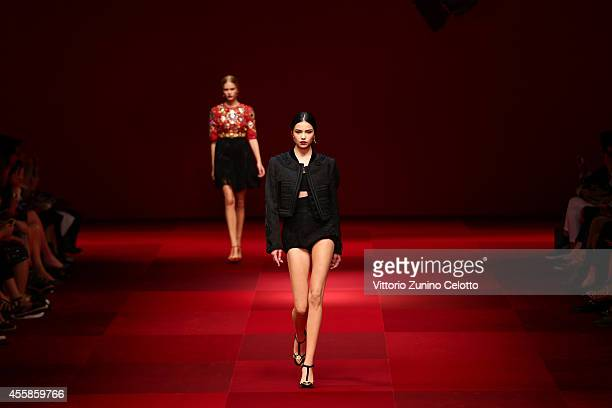 A model walks the runway during the Dolce Gabbana show as a part of the Milan Fashion Week Womenswear Spring/Summer 2015 on September 21 2014 in...