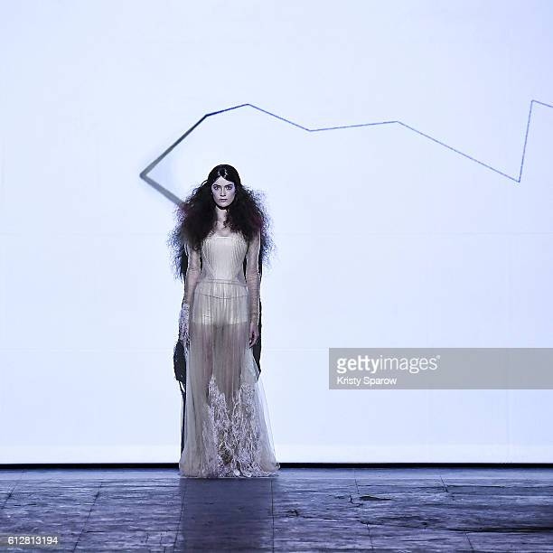 A model walks the runway during the Dorhout Mees show as part of Paris Fashion Week Womenswear Spring/Summer 2017 on October 2 2016 in Paris France