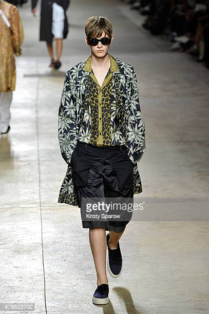 A model walks the runway during the Dries Van Noten Menswear Spring/Summer 2016 show as part of Paris Fashion Week on June 25 2015 in Paris France