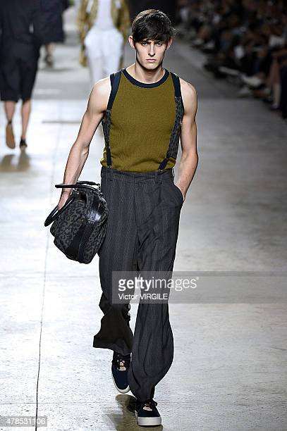 A model walks the runway during the Dries Van Noten Ready to Wear Menswear Spring/Summer 2016 show as part of Paris Fashion Week on June 25 2015 in...