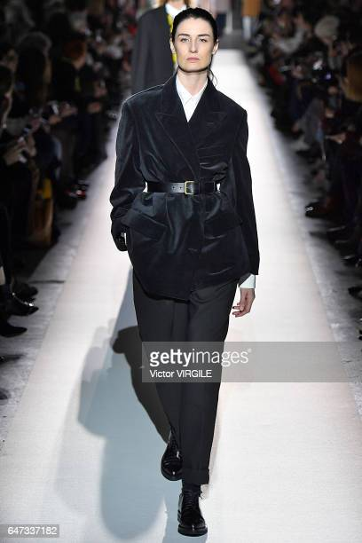 A model walks the runway during the Dries Van Noten Ready to Wear fashion show as part of the Paris Fashion Week Womenswear Fall/Winter 2017/2018 on...