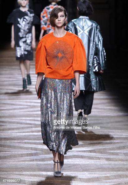 A model walks the runway during the Dries Van Noten show as part of the Paris Fashion Week Womenswear Fall/Winter 20142015 on February 26 2014 in...