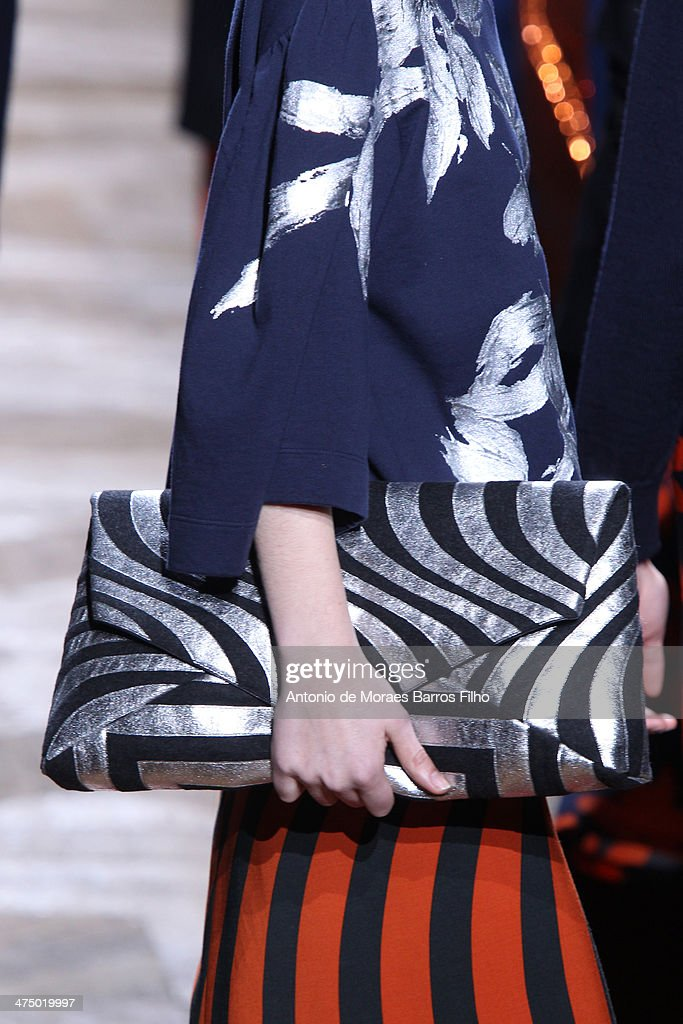 A model walks the runway (detail) during the Dries Van Noten show as part of the Paris Fashion Week Womenswear Fall/Winter 2014-2015 on February 26, 2014 in Paris, France.