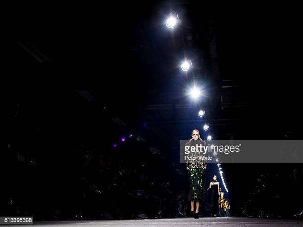 A model walks the runway during the Dries Van Noten show as part of the Paris Fashion Week Womenswear Fall/Winter 2016/2017 on March 2 2016 in Paris...