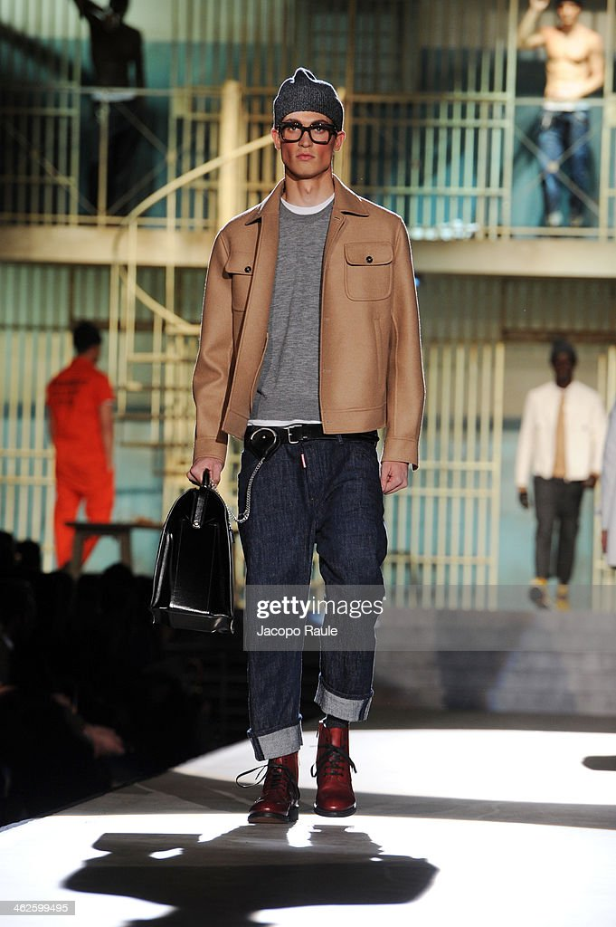 A model walks the runway during the Dsquared2 show as a part of Milan Fashion Week Menswear Autumn/Winter 2014 on January 14 2014 in Milan Italy