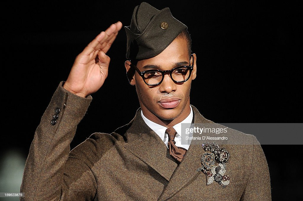 A model walks the runway during the DSquared2 show as part of Milan Fashion Week Menswear Autumn/Winter 2013 on January 15, 2013 in Milan, Italy.