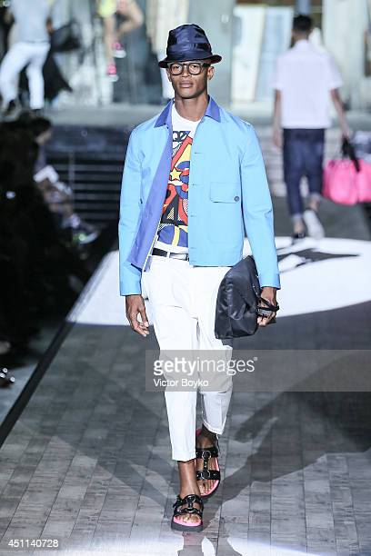A model walks the runway during the Dsquared2 show as part of Milan Fashion Week Menswear Spring/Summer 2015