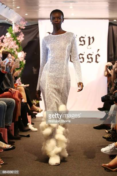 A model walks the runway during the Dyspnea show at MercedesBenz Fashion Week Resort 18 Collections on May 18 2017 in Sydney Australia