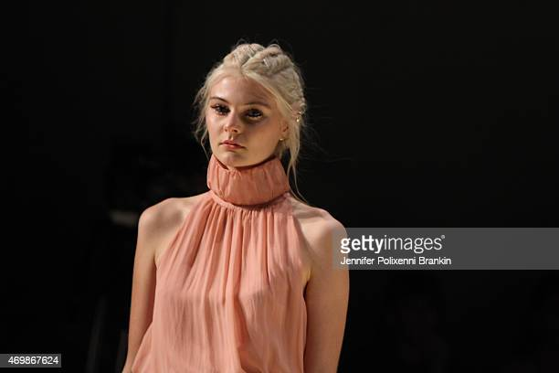 A model walks the runway during the CS Edit X Kirrily Johnston show at MercedesBenz Fashion Week Australia 2015 at Carriageworks on April 16 2015 in...