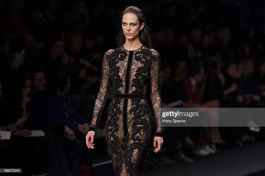 A model walks the runway during the Elie Saab Fall/Winter 2013/14 Ready-to-Wear show as part of Paris Fashion Week on March 6, 2013 in Paris, France.