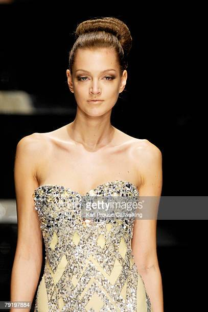 A model walks the runway during the Elie Saab Fashion Show part of Paris Spring/Summer 2008 Haute Couture Fashion Week on January 23 2008 in Paris...