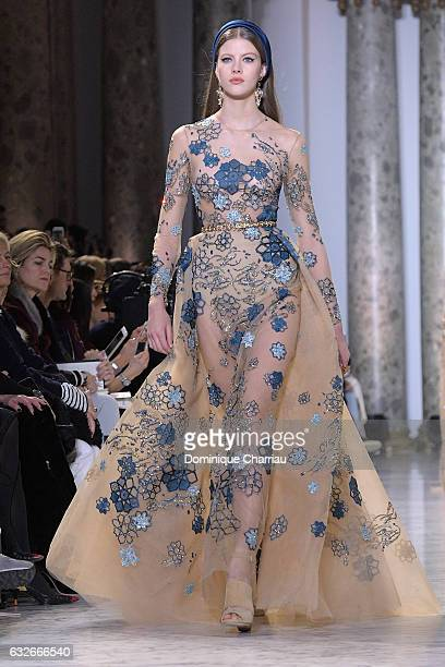 A model walks the runway during the Elie Saab Haute Couture Spring Summer 2017 show as part of Paris Fashion Week on January 25 2017 in Paris France