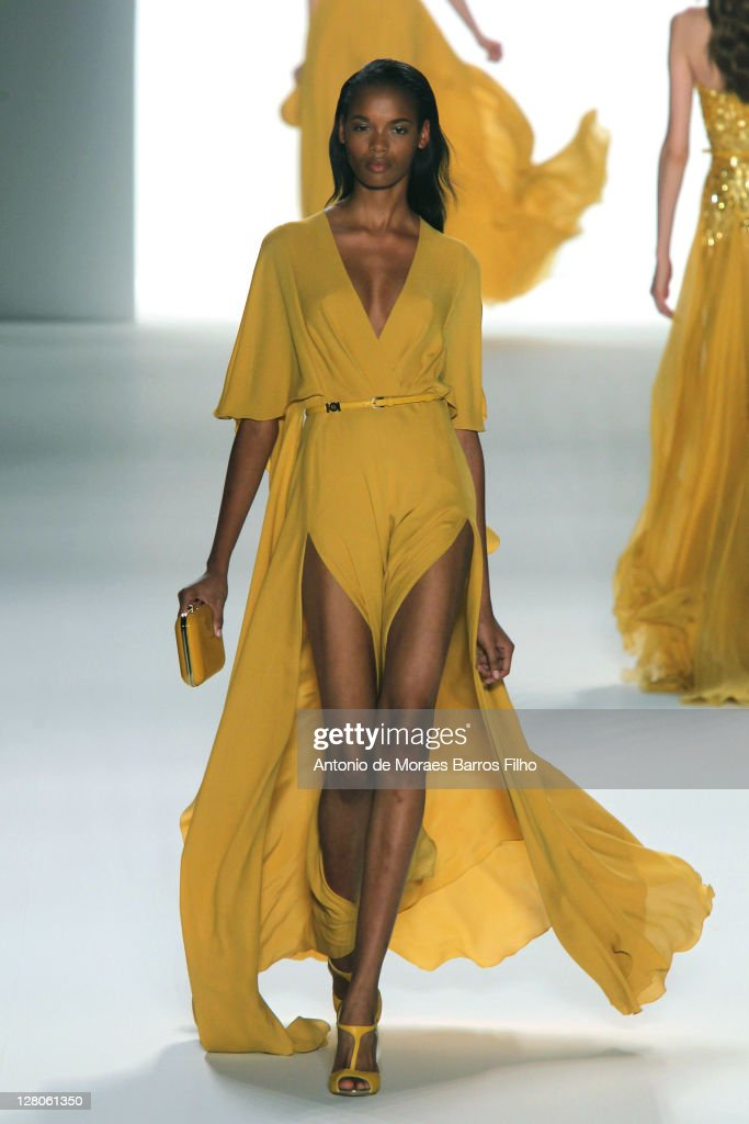 A model walks the runway during the Elie Saab Ready to Wear Spring / Summer 2012 show during Paris Fashion Week at Espace Ephemere Tuileries on October 5, 2011 in Paris, France.