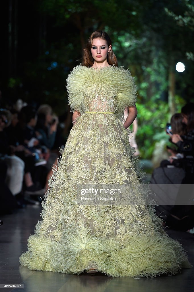 A model walks the runway during the Elie Saab show as part of Paris Fashion Week Haute Couture Spring/Summer 2015 on January 28 2015 in Paris France