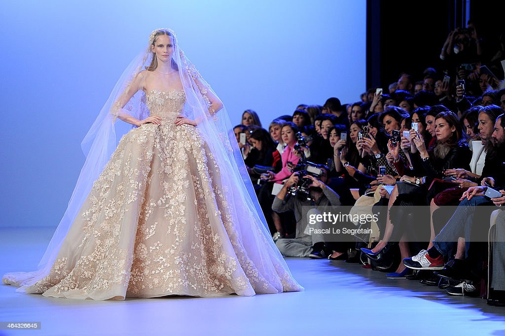 A model walks the runway during the Elie Saab show as part of Paris Fashion Week Haute Couture Spring/Summer 2014 on January 22, 2014 in Paris, France.