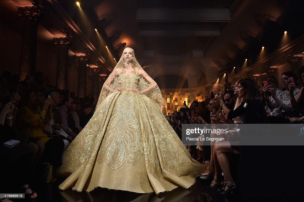 A model walks the runway during the Elie Saab show as part of Paris Fashion Week Haute Couture Fall/Winter 2015/2016 on July 8, 2015 in Paris, France.