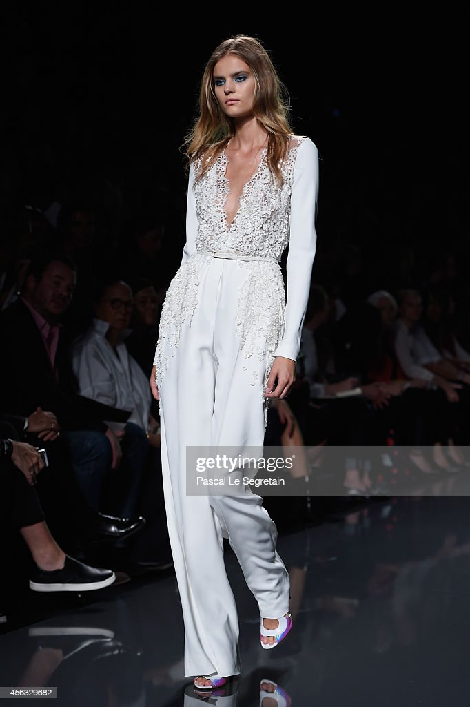 A model walks the runway during the Elie Saab show as part of the Paris Fashion Week Womenswear Spring/Summer 2015 on September 29 2014 in Paris...
