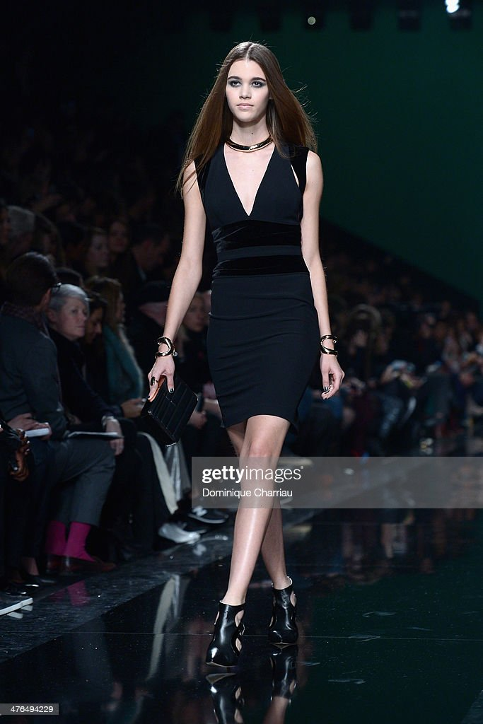 A model walks the runway during the Elie Saab show as part of the Paris Fashion Week Womenswear Fall/Winter 2014-2015 on March 3, 2014 in Paris, France.