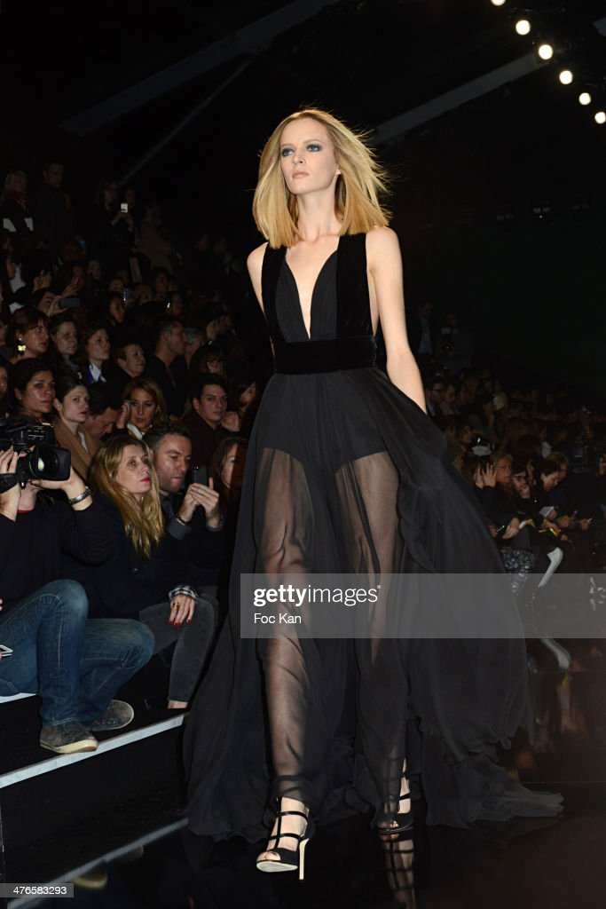 A model walks the runway during the Elie Saab show as part of the Paris Fashion Week Womenswear Fall/Winter 2014-2015 at the Espace Ephemere Tuileries on March 3, 2014 in Paris, France.
