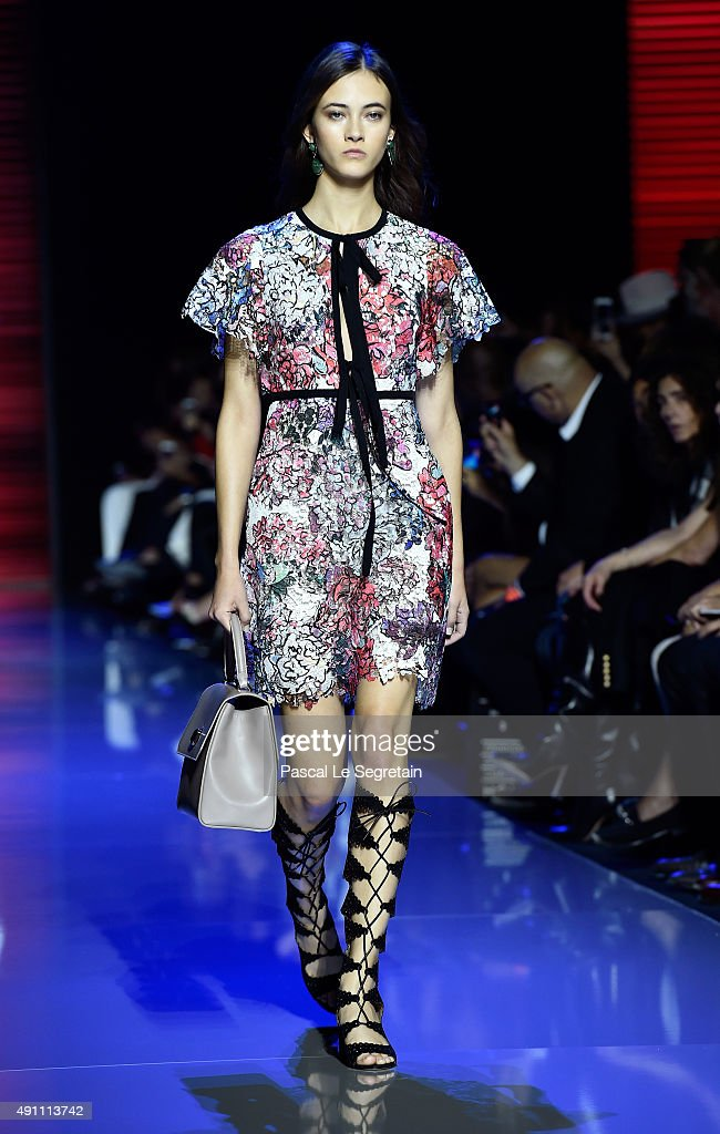 A model walks the runway during the Elie Saab show as part of the Paris Fashion Week Womenswear Spring/Summer 2016 on October 3 2015 in Paris France