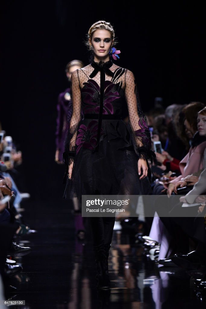 a model walks the runway during the elie saab show as part of the paris fashion