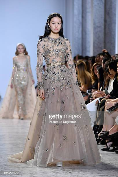 A model walks the runway during the Elie Saab Spring Summer 2017 show as part of Paris Fashion Week on January 25 2017 in Paris France