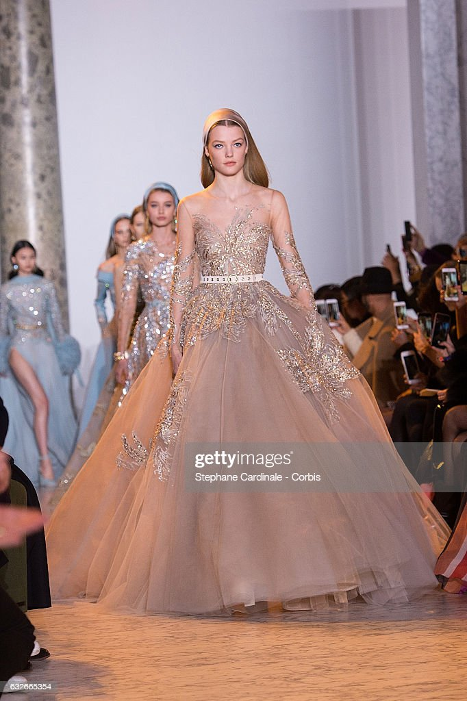 a model walks the runway during the elie saab spring summer show as part of