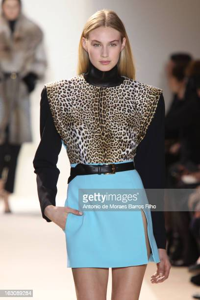 A model walks the runway during the Emanuel Ungaro Fall/Winter 2013 ReadytoWear show as part of Paris Fashion Week on March 4 2013 in Paris France