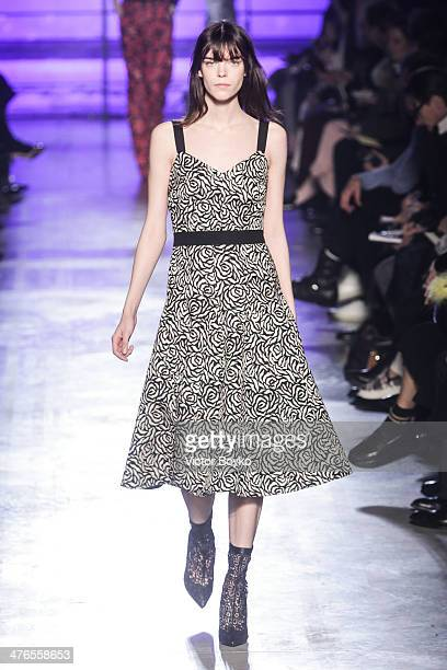 A model walks the runway during the Emanuel Ungaro show as part of the Paris Fashion Week Womenswear Fall/Winter 20142015 on March 3 2014 in Paris...