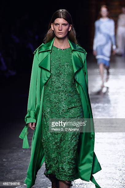 A model walks the runway during the Emilio Pucci fashion show as part of Milan Fashion Week Spring/Summer 2016 on September 24 2015 in Milan Italy