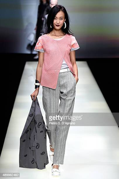 A model walks the runway during the Emporio Armani fashion show as part of Milan Fashion Week Spring/Summer 2016 on September 25 2015 in Milan Italy