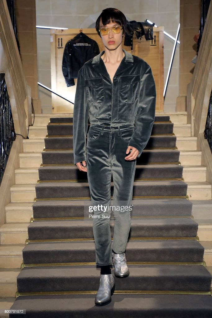 model-walks-the-runway-during-the-enfants-riches-deprimes-menswear-picture-id800751572