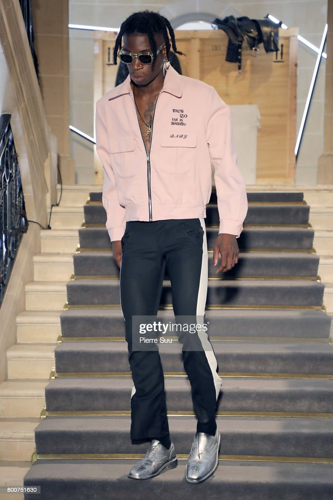 model-walks-the-runway-during-the-enfants-riches-deprimes-menswear-picture-id800751630