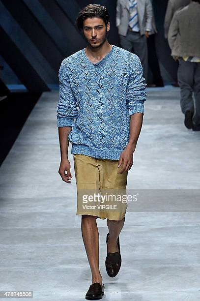 A model walks the runway during the Ermanno Scervino Ready to Wear fashion show as part of Milan Men's Fashion Week Spring/Summer 2016 on June 23...
