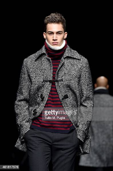 A model walks the runway during the Ermanno Scervino show as a part of Milan Menswear Fashion Week Fall Winter 2015/2016 on January 20 2015 in Milan...