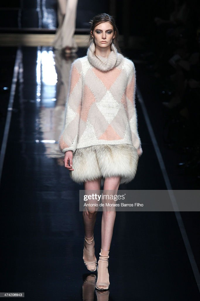 A model walks the runway during the Ermanno Scervino show as a part of Milan Fashion Week Womenswear Autumn/Winter 2014 on February 22, 2014 in Milan, Italy.