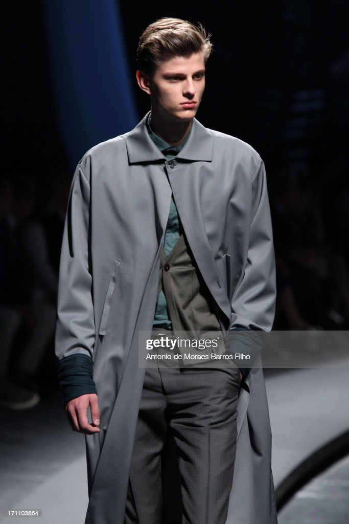 A model walks the runway during the Ermenegildo Zegna as a part of MFW S/S 2014 on June 22, 2013 in Milan, Italy.