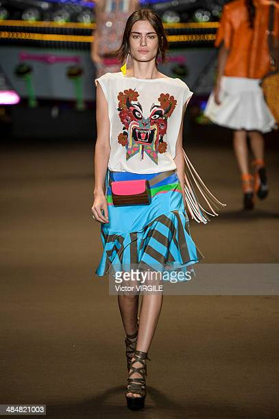 A model walks the runway during the Espaco Fashion show at Rio de Janeiro Fashion Week Spring Summer 2014/2015 on April 9 2014 in Rio de Janeiro...