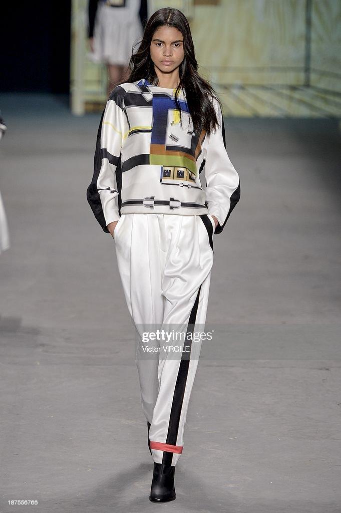 A model walks the runway during the Espaco show as part of the Rio de Janeiro Fashion Week Fall/Winter 2014 on November 9, 2013 in Rio de Janeiro, Brazil.