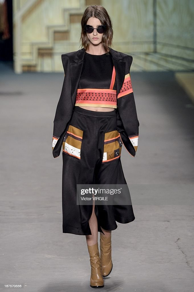 A model walks the runway during the Espaco show as part of the Rio de Janeiro Fashion Week Fall/Winter 2014 on November 9, 2013 in Rio de Janeiro, Brazil.