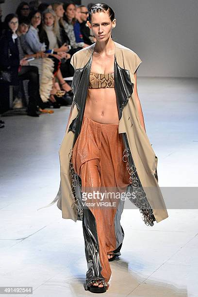 A model walks the runway during the Esteban Cortazar Ready to Wear show as part of Paris Fashion Week Womenswear Spring/Summer 2016 on October 5 2015...